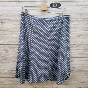 Talbots A Line Blue & White Chevron Skirt